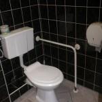 Zdjęcie toalety z widoczną specjalnym uchwytem do przytrzymywania się dla osób z niepełnosprawnością ruchową.